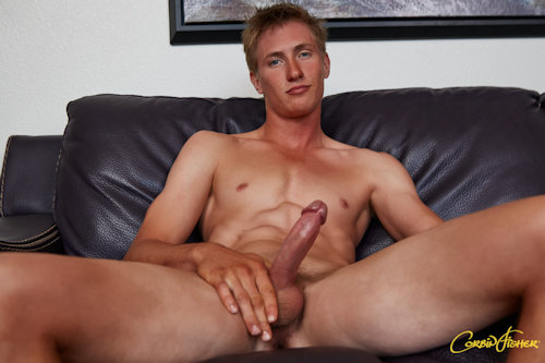 Lewd gay guy stuffing his dick on cam